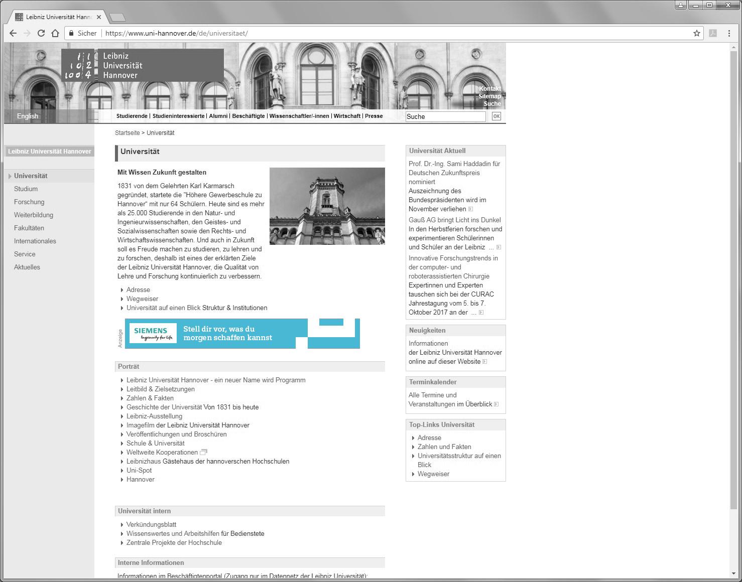 Leibniz Universität Hannover, Bannerwerbung, Recruiting