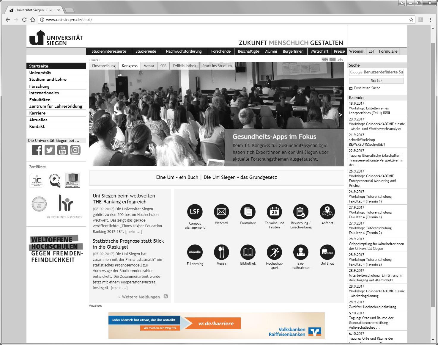 Universität Siegen, Bannerwerbung, Recruiting, Big Size