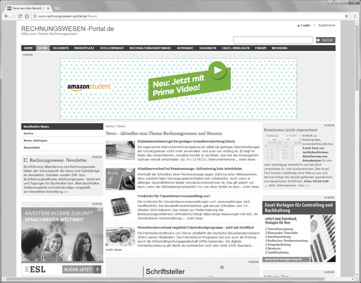 rechnungswesen-portal.de, Amazon, Billboard, Produktwerbung